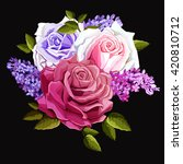 Bouquet Of Roses With Lilac An...