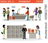 people in a supermarket with... | Shutterstock .eps vector #420812785