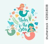 under the sea card with mermaid ... | Shutterstock .eps vector #420818038