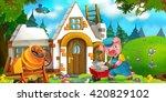 cartoon scene of hard working...   Shutterstock . vector #420829102