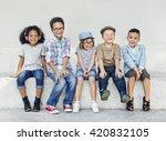 hipster kids friends playing... | Shutterstock . vector #420832105