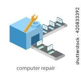 isometric  building of computer ... | Shutterstock .eps vector #420833392