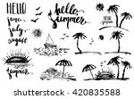 hand drawn ink summer design... | Shutterstock .eps vector #420835588