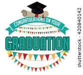 graduation mortarboard and... | Shutterstock .eps vector #420840142