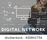 digital network communication... | Shutterstock . vector #420841756