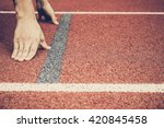 athlete at the starting point  | Shutterstock . vector #420845458