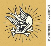 traditional tattoo flash skull... | Shutterstock .eps vector #420858406