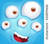 cartoon monster face   Shutterstock .eps vector #420859606