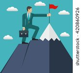 businessman reaching his goal ... | Shutterstock .eps vector #420860926