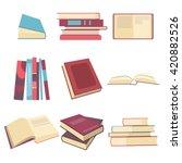 Books Icon Set In Flat  Books...