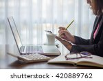young professional woman works... | Shutterstock . vector #420889762