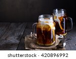 iced coffee with milk in mason... | Shutterstock . vector #420896992