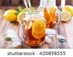 iced tea with lemon slices and... | Shutterstock . vector #420898555