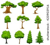 diversity of trees set | Shutterstock . vector #420903916