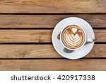 a cup of cappuccino top view ... | Shutterstock . vector #420917338
