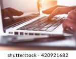 businessman using computer with ... | Shutterstock . vector #420921682