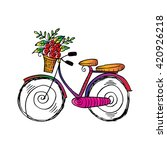 bicycle with flower basket.... | Shutterstock .eps vector #420926218