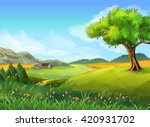 rural landscape  nature  summer ... | Shutterstock .eps vector #420931702