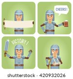set of knight characters posing ... | Shutterstock .eps vector #420932026