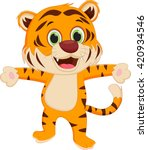 happy tiger cartoon   Shutterstock .eps vector #420934546