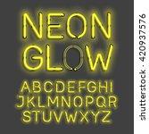 neon glow alphabet vector... | Shutterstock .eps vector #420937576