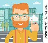 man pressing like button.   Shutterstock .eps vector #420938902