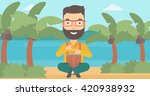 man playing tomtom. | Shutterstock .eps vector #420938932