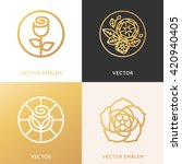 Stock vector vector logo design template and monogram concepts in trendy linear style and golden colors rose 420940405