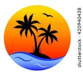 round cartoon card  tropical ... | Shutterstock .eps vector #420940438