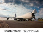 unloading wide body cargo... | Shutterstock . vector #420944068