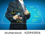 plan of soccer manager pointing ... | Shutterstock . vector #420945856