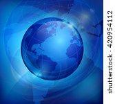 globe sphere earth on blue...   Shutterstock .eps vector #420954112