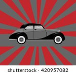 vintage car on a striped... | Shutterstock .eps vector #420957082