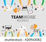 business hand working on table  ... | Shutterstock .eps vector #420963082