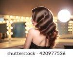 long hollywood hair dress. back ...   Shutterstock . vector #420977536