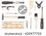 set of carpentry tools on white ... | Shutterstock . vector #420977755