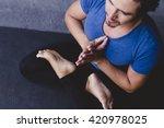 mexican yoga teacher meditating | Shutterstock . vector #420978025