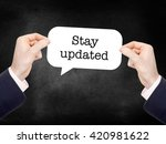 stay updated written on a... | Shutterstock . vector #420981622