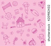 child drawing doodle set... | Shutterstock .eps vector #420982432