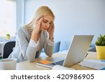 tired businesswoman with... | Shutterstock . vector #420986905