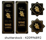 vector black golden wine labels ... | Shutterstock .eps vector #420996892