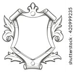 blank baroque shield with... | Shutterstock .eps vector #420999235