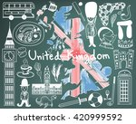 travel to united kingdom... | Shutterstock .eps vector #420999592