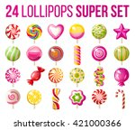 24 Bright Lollipops Icons Over...