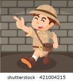 Boy Explorer Pointing Cartoon...