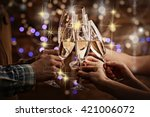 clinking glasses of champagne... | Shutterstock . vector #421006072