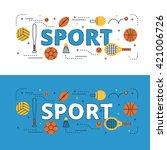 sport lettering flat line...   Shutterstock .eps vector #421006726