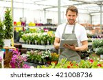 view of a young attractive man... | Shutterstock . vector #421008736
