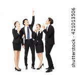 happy business group pointing... | Shutterstock . vector #421013506