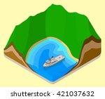 lagoon isometric. coastline .... | Shutterstock . vector #421037632
